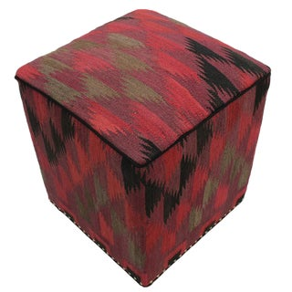 Boho Chic Calloway Red/Pink Handmade Kilim Upholstered Ottoman For Sale