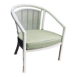 Vintage Meadowcraft Patio Faux Bamboo Barrel Chair For Sale