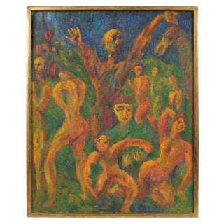"""Jennings Tofel """"Allegory"""" Expressionist Oil Painting, 1947 1947 For Sale"""