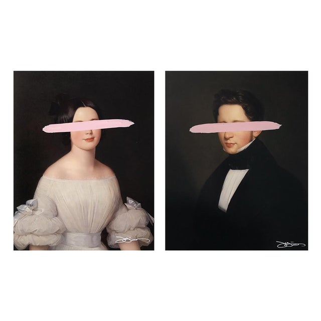 """Paint Josh Young Design House """"Emma & Eugene - Blush"""" Mixed Media Paintings - A Pair For Sale - Image 7 of 7"""