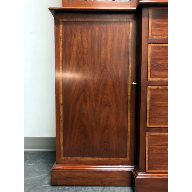 Brass Henkel Harris Solid Wild Black Cherry Chippendale Breakfront China Cabinet For Sale - Image 7 of 13