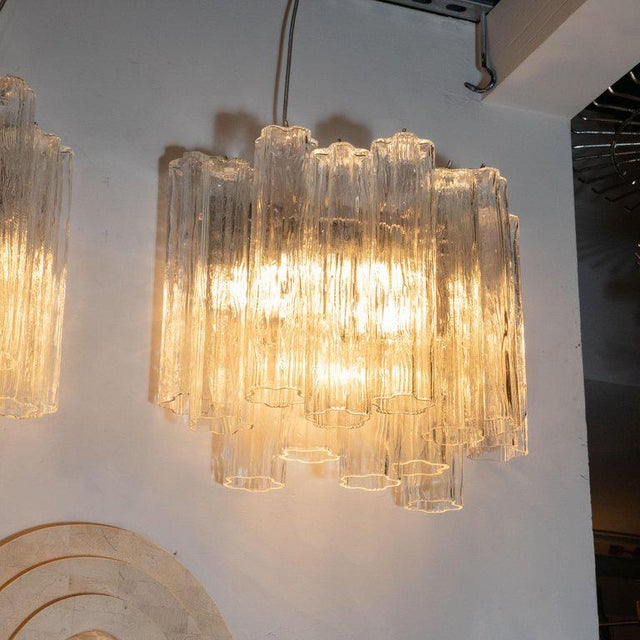 Contemporary Mid-Century Staggered Translucent Glass Tronchi Sconces With Nickel Fittings - a Pair For Sale - Image 3 of 6