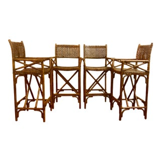 1950s Antalya Style McGuire Laced Rawhide Bar Stool - Set of 4 For Sale