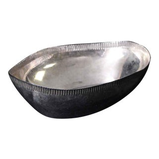 Salvaged Waldorf Scalloped Oval Serving Bowl For Sale