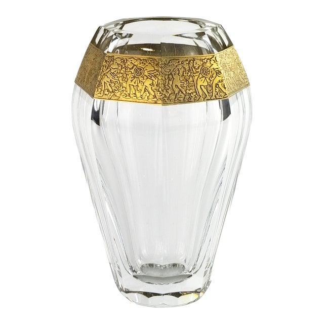 "Vintage Moser ""Diva"" Crystal Vase Gilded Band in a Classical Pattern For Sale"