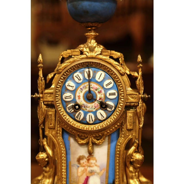 Figurative 19th Century French Louis XVI Gilt Metal and Porcelain Mantel Clock For Sale - Image 3 of 11