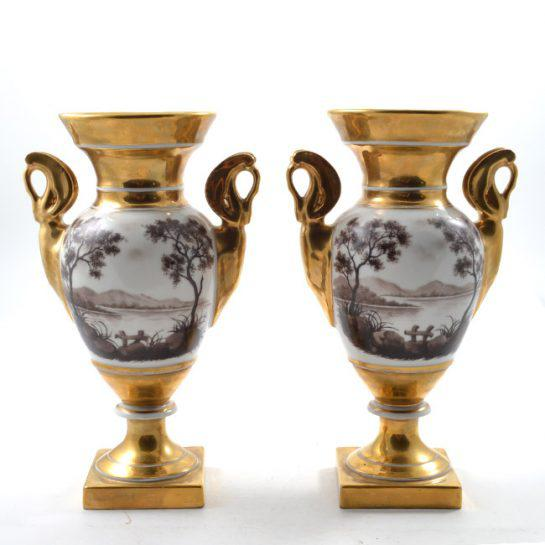 Neoclassical 19th Century Antique French Porcelain Vases-a Pair For Sale - Image 3 of 13