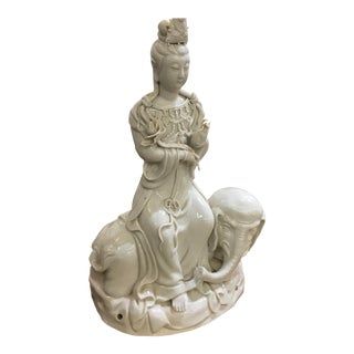 Mid 20th Century Chinese Blanc De Chine Figure on Elephant For Sale