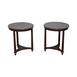 Heritage Round French Empire Style Mahogany Side Tables - A Pair For Sale
