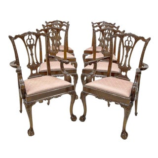 Late 20th Century Antique Chippendale Chairs- Set of 8 For Sale