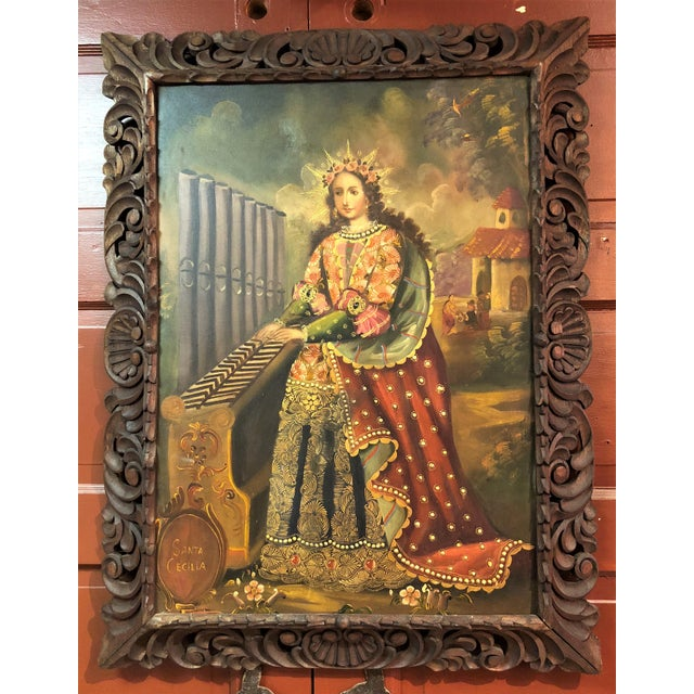 """""""Cuzco School"""" Religious Art, Oil on Canvas of St. Cecilia, Patron Saint of Music. For Sale - Image 4 of 4"""