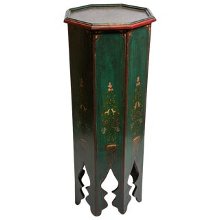 Moroccan Moorish Hand Painted Green Pedestal Table For Sale