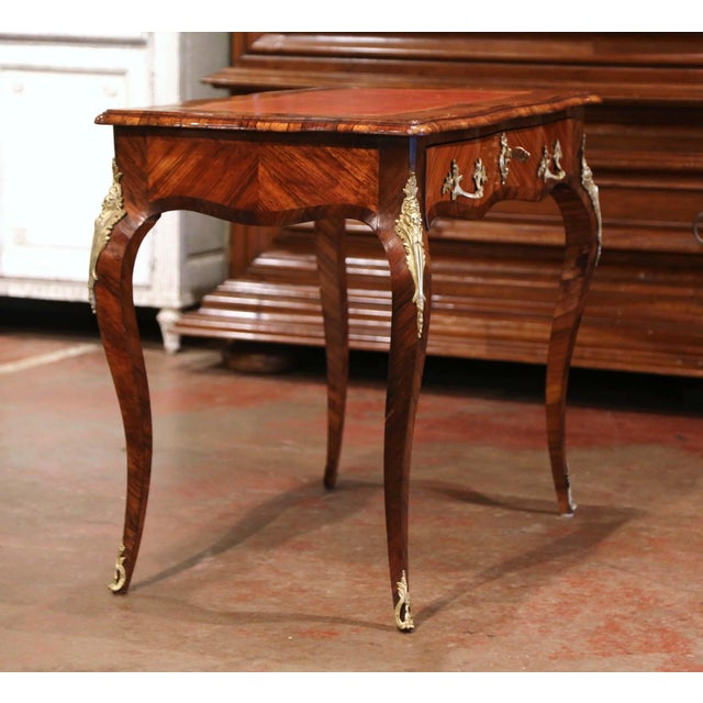 Brown 19th Century French Louis XV Marquetry and Bronze Ladies Desk With Leather Top For Sale - Image 8 of 13