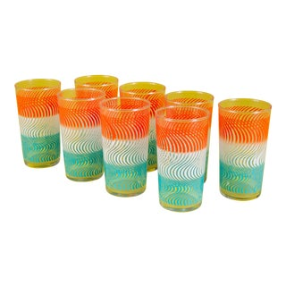 Set of 8 1950's Tri-Color Swirl Glasses For Sale