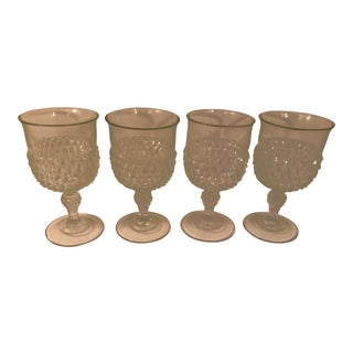 1960s Vintage Anchor Hocking Diamond Point Glass Goblets- Set of 4 For Sale