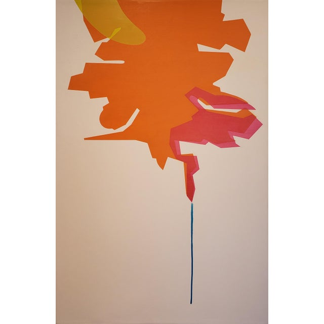 "Orange Ernest Regua Abstract Painting ""Flux"" For Sale - Image 8 of 8"