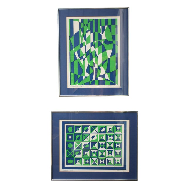 1970s Op Art Blue and Green Serigraphs - A Pair - Image 1 of 11