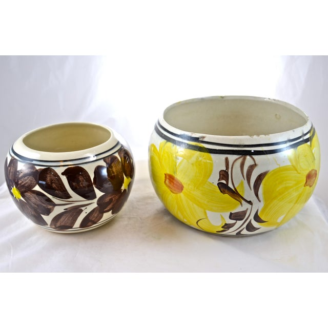 Yellow Mexican Flower Pots - A Pair For Sale - Image 4 of 6