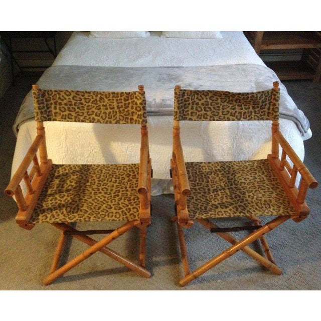Directors Chairs From Telescope Chair, Leopard Print Fabric, Midcentury, Pair For Sale - Image 4 of 13