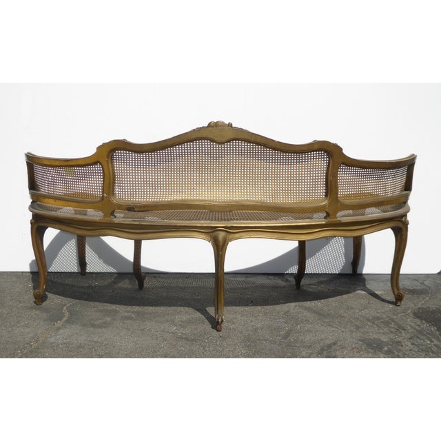 Antique French Provincial Louis XVI Rococo Gold Cane Settee Loveseat For Sale - Image 4 of 13