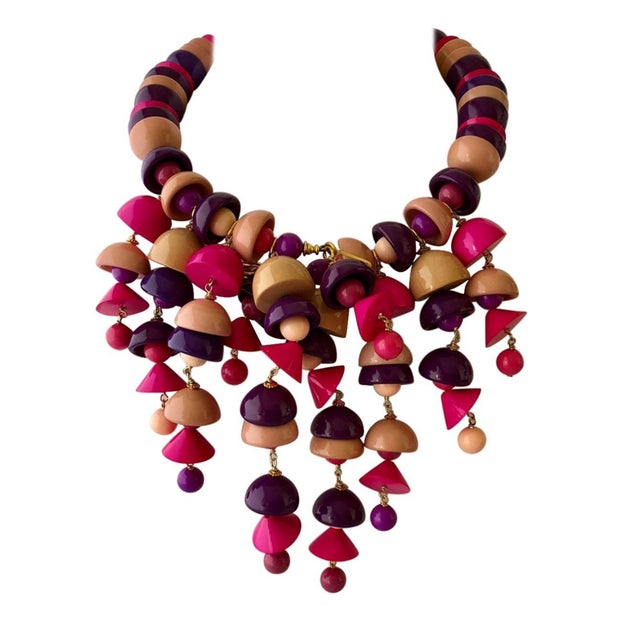 Coral French Pink Fringe Architectural Bib Statement Necklace For Sale - Image 7 of 7