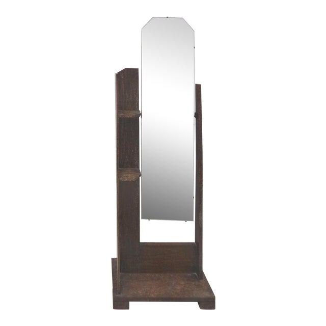 Art Deco/Arts & Crafts Cerused Oak Cheval Floor Mirror For Sale