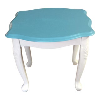 Shabby Chic Aqua and White End Table For Sale