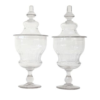 Pair of Napoleon III Glass Apothecary Jars For Sale