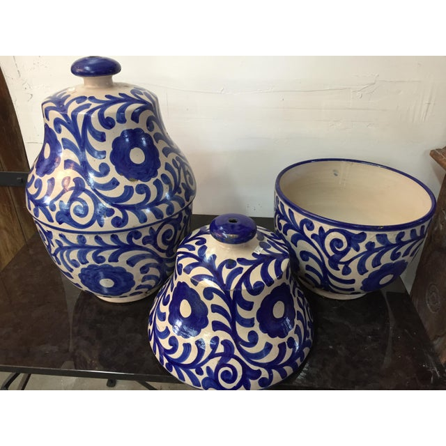 Moroccan Painted Blue & White Jar - A Pair - Image 3 of 3