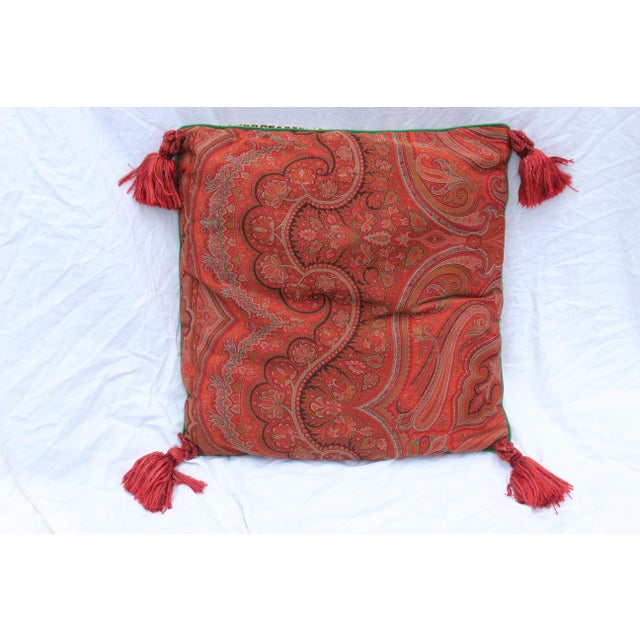 Contemporary style down-filled pillow covered in red paisley silk on one side and leopard print velour on the other. Green...