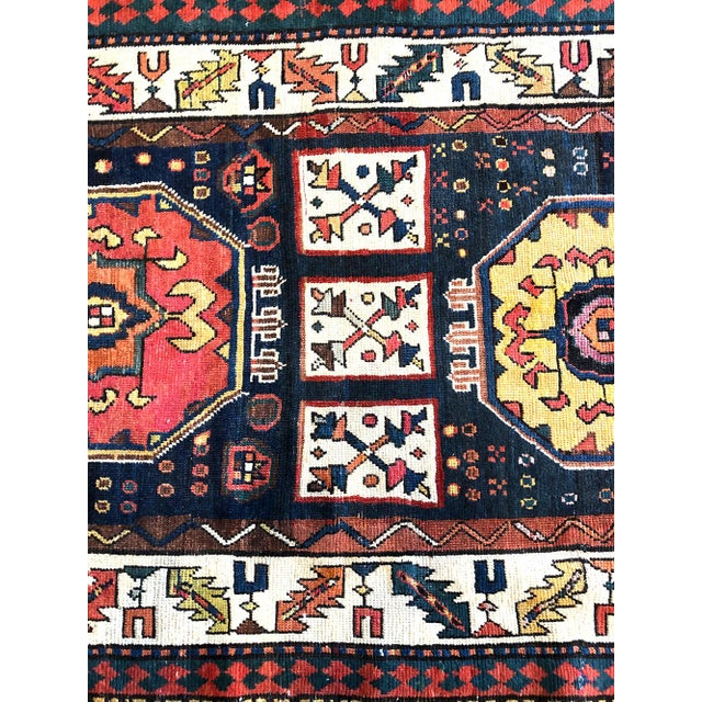 Early 19th Century Early 19th Century Antique Persian Bakhtiari Runner Rug - 3′8″ × 9′ For Sale - Image 5 of 7