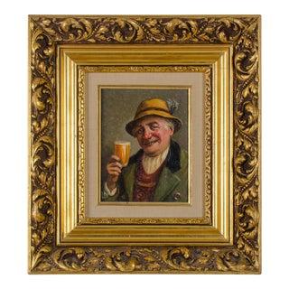 Mid 20th Century Beer Toasting Alpine Gentleman Portrait Painting by Leon Noireaut For Sale