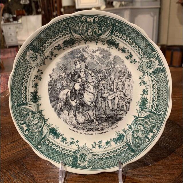 Ceramic 19th Century French Painted Napoleonic Sarreguemines Ceramic Plates-Set of 9 For Sale - Image 7 of 13