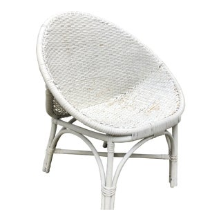 20th Century Boho Chic White Wicker Egg Side Chair