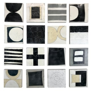 "Modern ""Hocus Pocus"" Encaustic Collage Installation by Gina Cochran - Sixteen 10x10 Panels For Sale"