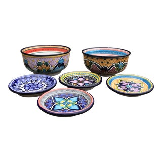 Talavera Mexican Pottery Hand Painted & Signed Serving Set- 6 Pieces For Sale