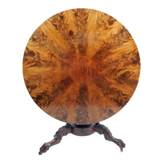19th-C Flame Mahogany Tilt Top Entry Table For Sale