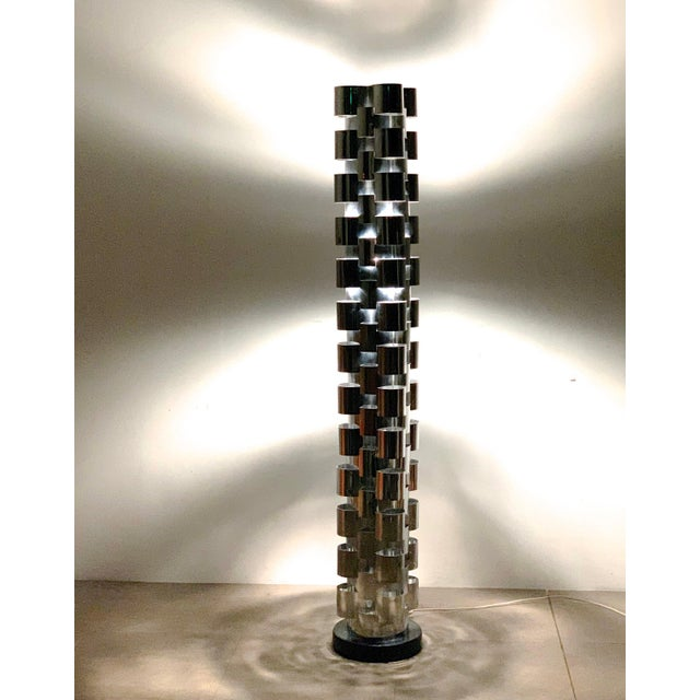 Curtis Jere 1970s Curtis Jere Chrome Skyscraper Floor Lamp For Sale - Image 4 of 10
