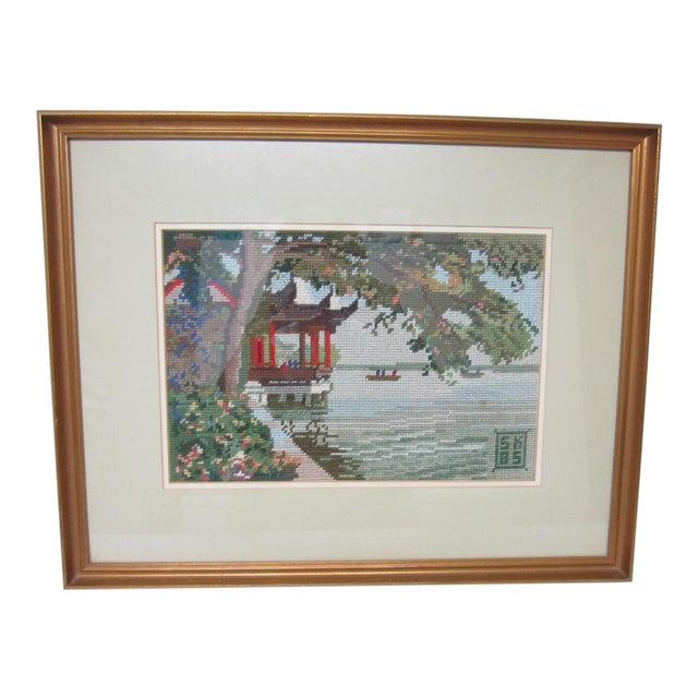Oriental Asian Teahouse on the Lake Needlepoint - Image 1 of 11