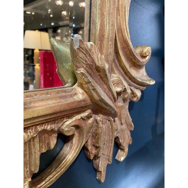 Wood Large Vintage 1940s Gold Framed Mirror For Sale - Image 7 of 8