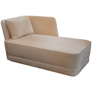 Velvet and Leather Chaise Longue For Sale