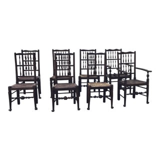 Early 19th Century Vintage English Oak Chairs- Set of 8 For Sale