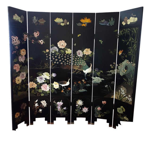 Vintage Chinese 6 - Panel Peacock Screen For Sale