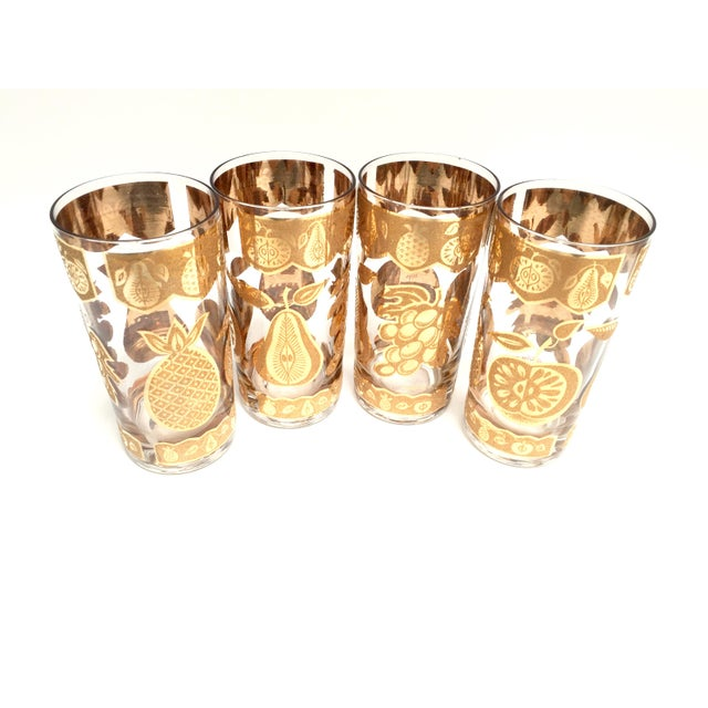 Mid-Century Culver 22k Gold Fruit Tumblers - Set of 8 For Sale - Image 5 of 7