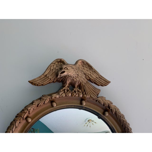 Traditional Vintage Gilt Wood Federal Eagle Convex Mirror For Sale - Image 3 of 8
