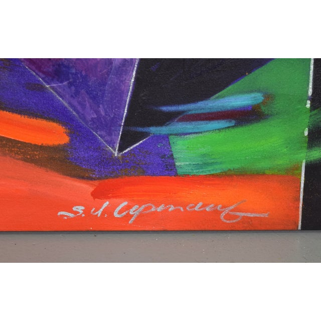 Paint 1990s Abstract Geometric Oil Painting For Sale - Image 7 of 11