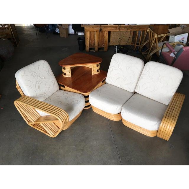 Boho Chic Restored Six-Strand Square Pretzel Sectional Rattan Corner Sofa W/ Side Table For Sale - Image 3 of 8