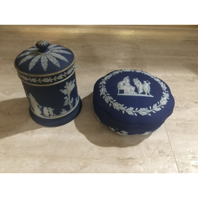 Wedgewood Jasper Blue & Cream Jar & Box - A Pair For Sale - Image 9 of 9