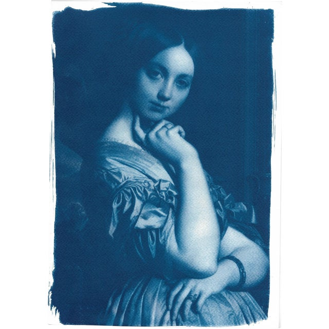 Cyanotype Print - Ingres Portrait of Young Woman - Image 1 of 4