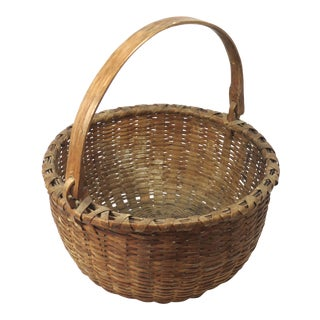 1920s Antique Swing Handle Woven Ash Splint Basket For Sale